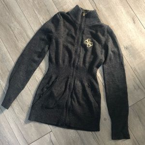 GUESS Zip-Up Sweater in Charcoal Gray